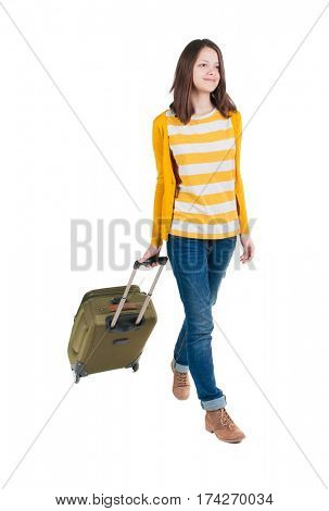 front view of walking  woman  with suitcase. beautiful brunette girl in motion.  backside view of person.  Rear view people collection. Isolated over white background.