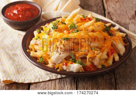 Spicy Fast Food: French Fries With Cheddar Cheese, Chili And Chicken Fillet Close-up. Horizontal