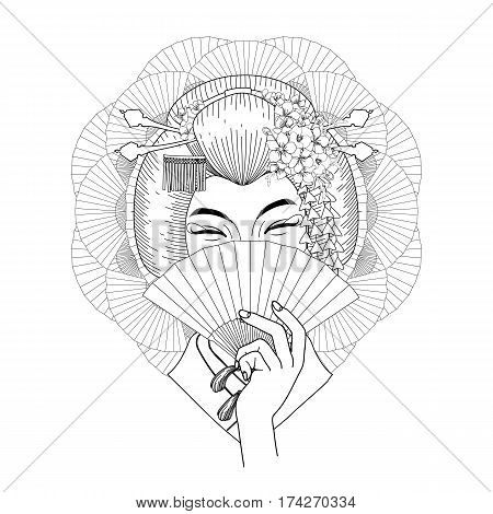 Cute asian girl hiding her face under the fan. Vector portrait of young woman with traditional japanese hairstyle. Coloring book page design for adults and kids