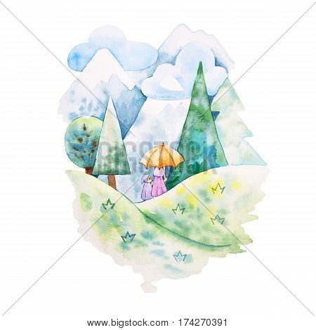 watercolor illustration. Foxes mother and daugther on the hill in the forest. Mountain veiw.