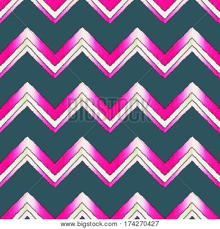 Abstract hand painted geometric zig zag watercolor seamless pattern