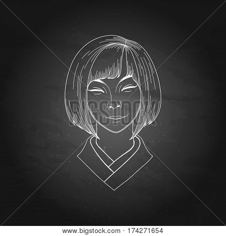Portret of cute smiling asian girl isolated on the chalkboard
