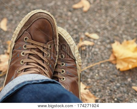 Close up view of brown men's shoes.
