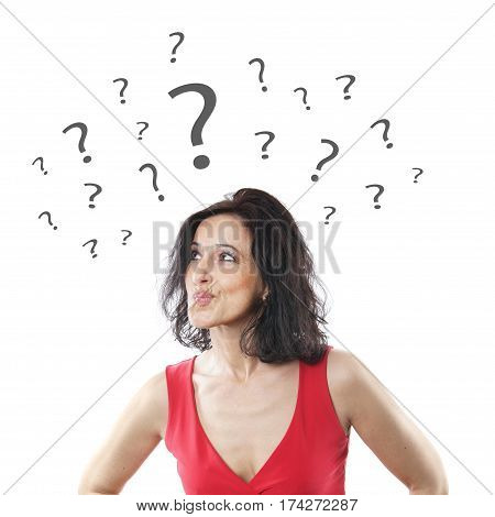 indecisive woman in her forties pouting with question marks