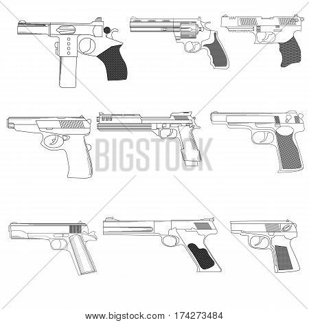Set of modern combat pistols in a linear style on a white background for use as logos on cards in printing posters invitations web design and other purposes.