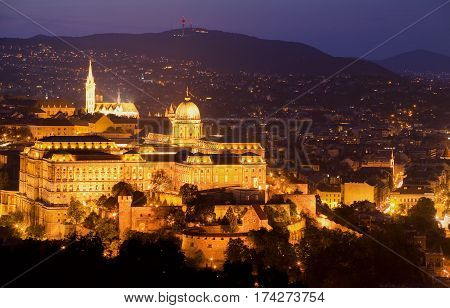 Budapest. Night. Hungary. Europe. Cityscape. Castle. Gellert.
