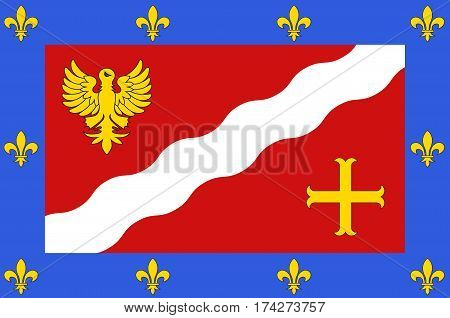 Flag of Val-dOise is a French department in the region of Ile-de-France. Vector illustration