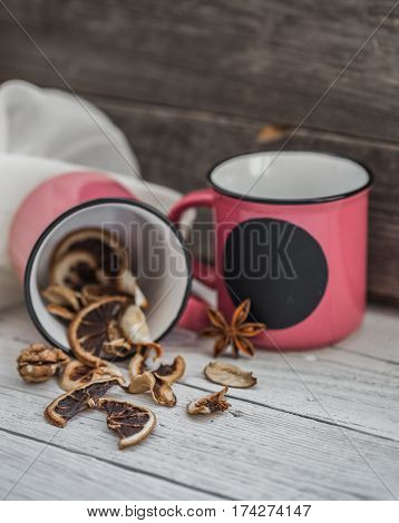Cup Dried Lemon On Wooden Background