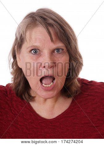 open-mouthed mature woman shocked, isolated on white