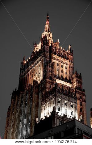 Top of the Moscow building in the evening.