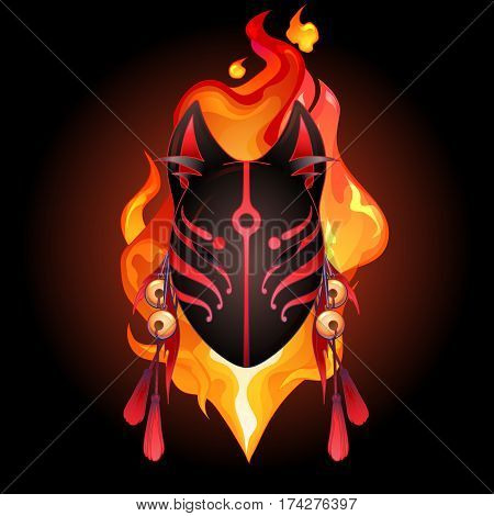 Graphic deamon fox mask drawn in red and black colors with fire flame on background. Traditional attribute of japanese folklore