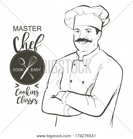 Portrait of restaurant's smiling chef in working uniform. A man in a chef cap with a mustache standing with crossed arms. Vector line sketch hand-drawn illustration