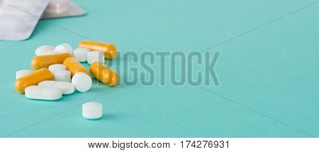 Pills, Capsules, And Medicine Blister Pack With Copy Space