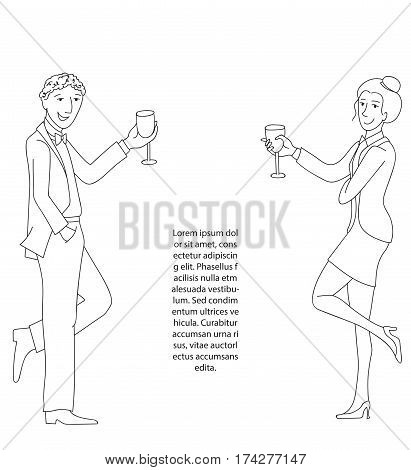 Man and woman in formal suits with wine glasses, Thin line doodle style cartoon vector illustration, Place for your text