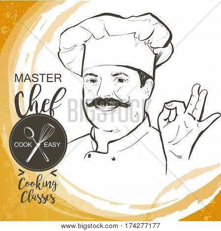 Portrait of restaurant's smiling chef in working uniform. A man in a chef cap with a mustache. Vector line sketch hand-drawn illustration