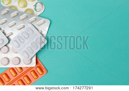 New And Spent Medicine Blister Packs With Copy Space