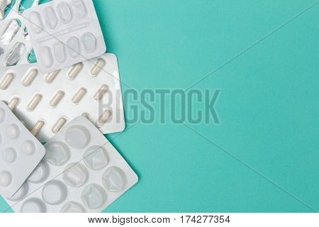 Some New And Spent Medicine Blister Packaging With Copy Space