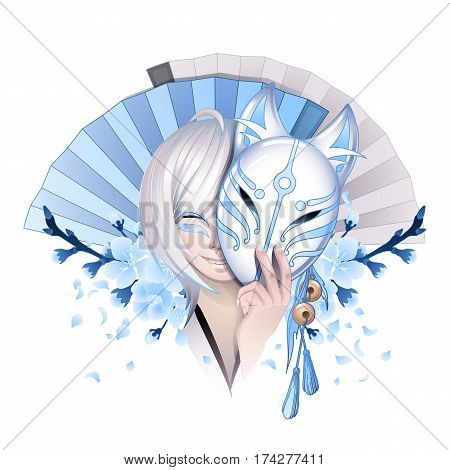 Smiling asian girl with gray hairs hiding her face under the japanese deamon fox mask with sakura flowers and traditional fans on background. Can be used as tattoo art, print or t-shirt design