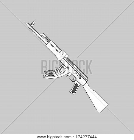 Automatic firearms pistol rifle machine gun in a linear style for use as logos on cards in printing posters invitations web design and other purposes.