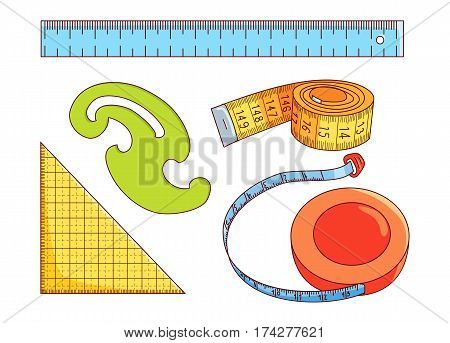 Set of measure tools for sewing and other isolated on white background, Measure tape, ruler, french curve and triangle, line icons,