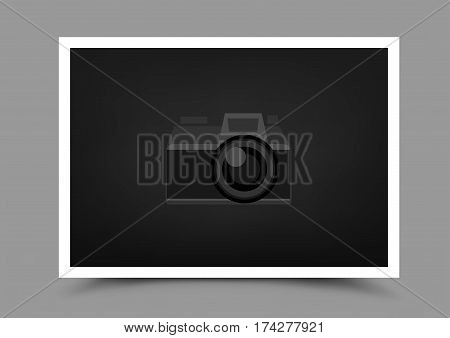 A4 paper photo icon with shadow on gray background. Empty horizontal template blank to insert your photography or picture. Camera symbol for default show