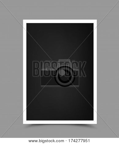 A4 paper photo icon with shadow on gray background. Empty vertical template blank to insert your photography or picture. Camera symbol for default show