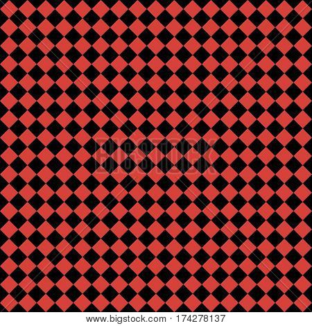 Red Rhombus. Black Squares. Chess Background. Seamless Pattern. Vector Illustration
