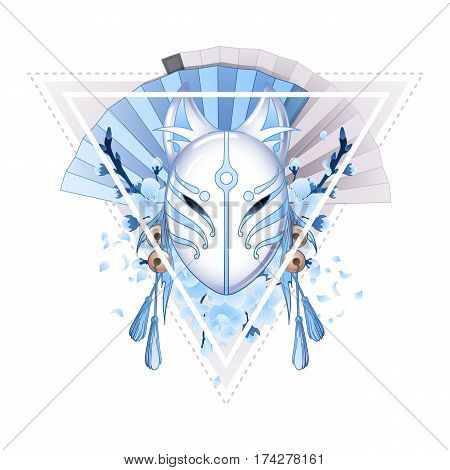 Graphic deamon fox mask with sacura flowers and hand fans on background. Sacred triangular design. Traditional attribute of japanese folklore