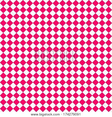 Red Rhombus. White Squares. Chess Background. Seamless Pattern. Vector Illustration