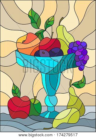 Illustration in stained glass style with still life fruits and berries in a blue vase