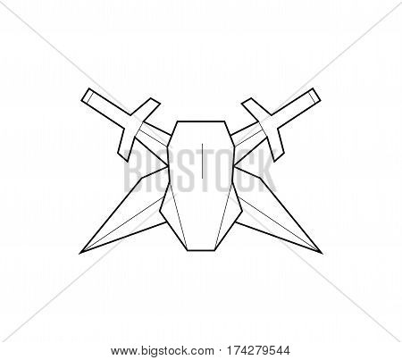 Vector logo. Computer mouse and swords. Game character. Line art. jpg eps