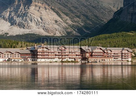 Mountain wooden resort by the tranquil lake In Monata, USA