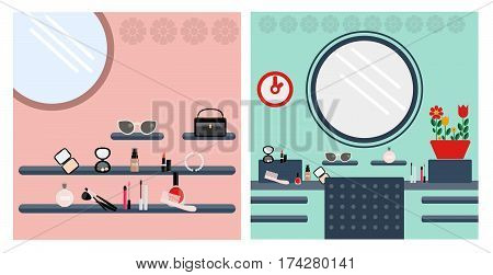 Digital vector image, woman make up room with fashion accessories set, with a pink and red background flat style