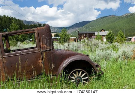 Antique rustic car in Elkhorn, Montana ghost town