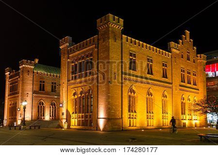 Kolobrzeg Poland - February 24 2017: The building of Town Hall in an old town at night time