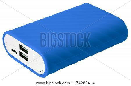 Blue Portable Battery Isolated