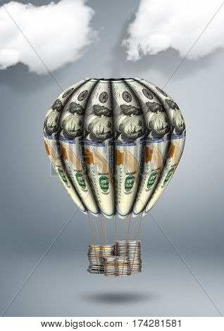 financial growth concept , money air balloon