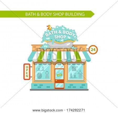 Vector flat style illustration of bath & body shop building. Signboard with big wash tub with foam and duck. Shop vitrine with room utensils. Isolated on white background.