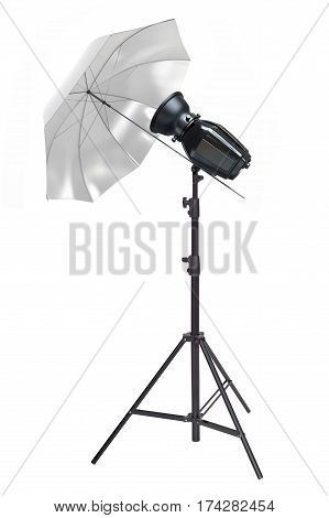 Studio lighting reflector umbrella isolated on a white background.