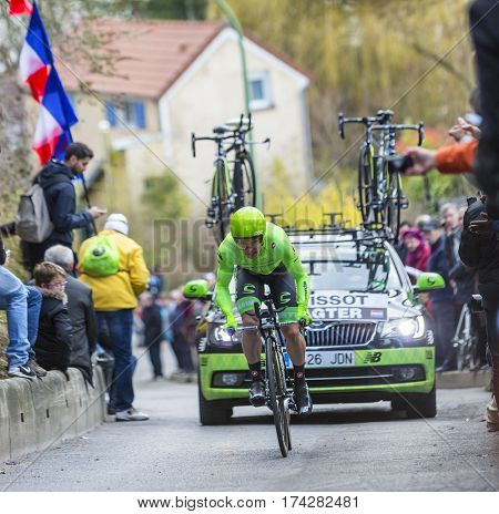 Conflans-Sainte-HonorineFrance-March 62016: The Dutch cyclist Tom-Jelte Slagter of Cannondale Team riding during the prologue stage of Paris-Nice 2016.