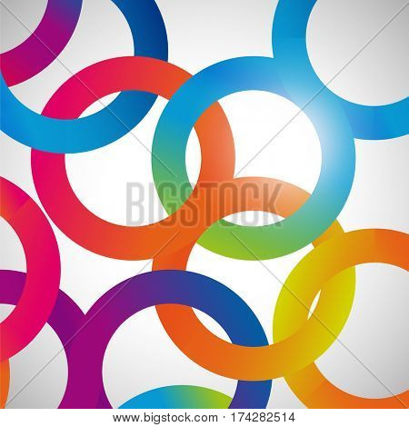 Rainbow loops, abstract background, design shape.