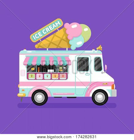Flat design vector illustration of ice cream car. Mobile retro vintage shop truck icon with signboard with big ice cream cone. Side view, isolated.