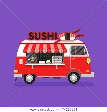 Flat design vector illustration of chinese or japanese traditional fast food van. Mobile retro vintage shop truck icon with signboard with big sushi roll and chopsticks. Side view, isolated.