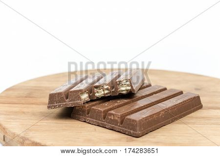 Chocolate Bars On The Wooden Board