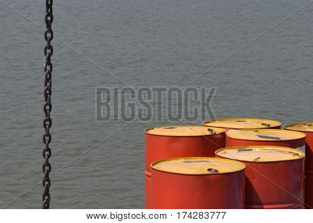 Oil Barrels With Water Background