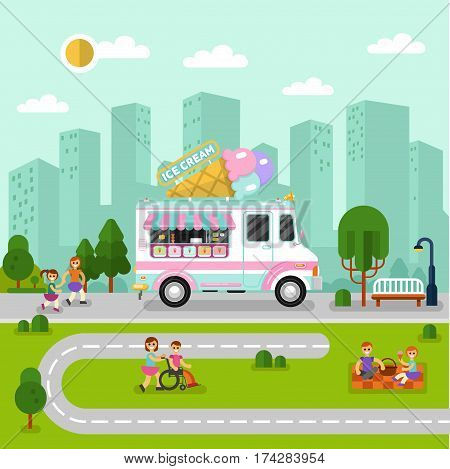 Flat design vector illustration of City landscape with ice cream van. Mobile retro shop truck icon with signboard with big ice cream cone. People spend time in park, eating, walking on street, eating