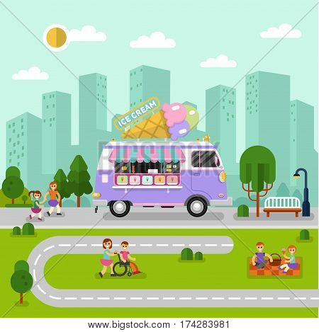Flat design vector illustration of City landscape with ice cream van. Mobile retro shop truck icon with signboard with big ice cream cone. People spend time in park, eating, walking, eating.