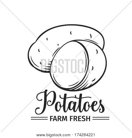 Hand drawn potatoes icon. Vector badge vegetable in the old ink style for brochures, banner, restaurant menu and market