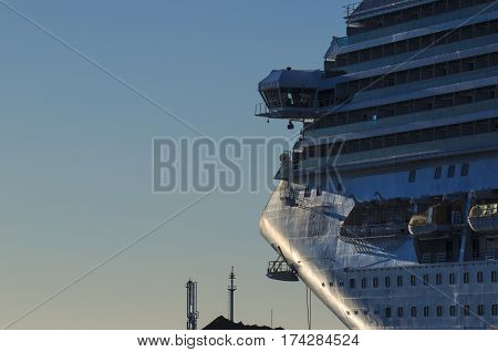 PASSENGER SHIP - Cruise ship moored to the quay of the port waiting for tourists
