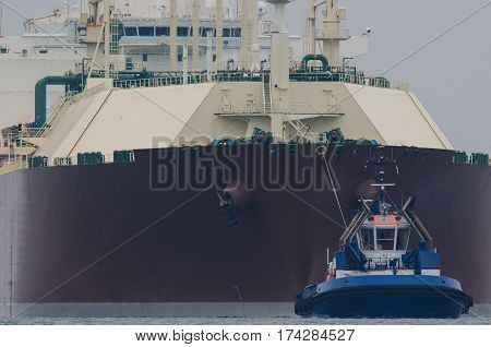 GAS CARRIER - Tanker entering the port by tugboats assisted on a rope